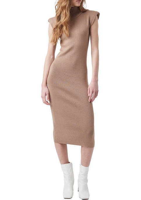 French Connection Fitted Mock Neck Shoulder Pad Midi