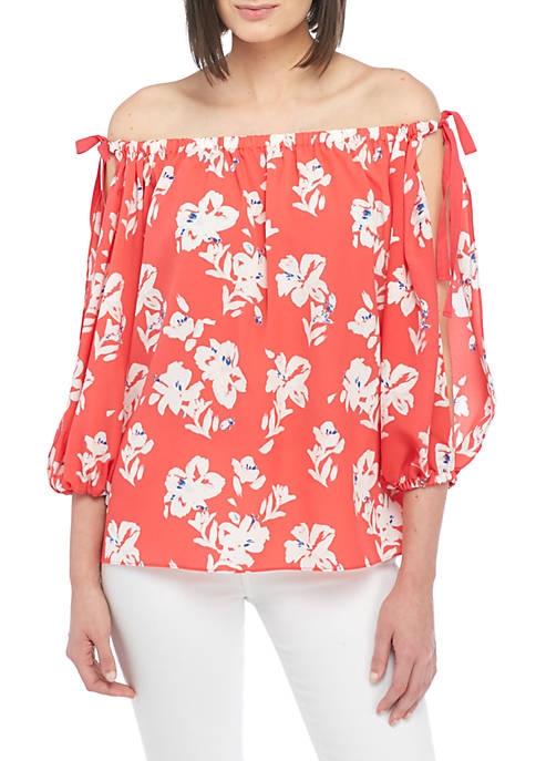 French Connection Verona Printed Cold Shoulder Blouse