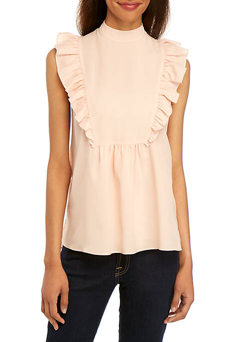 French Connection Crepe Sleeveless Ruffle Top