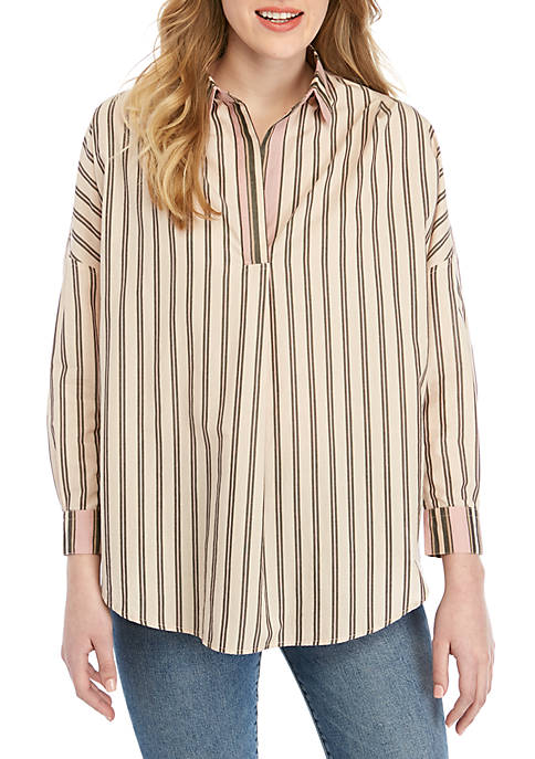 French Connection Cotton Stripe Pullover Top