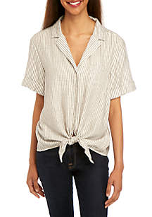 French Connection Laiche Tie Front T Shirt