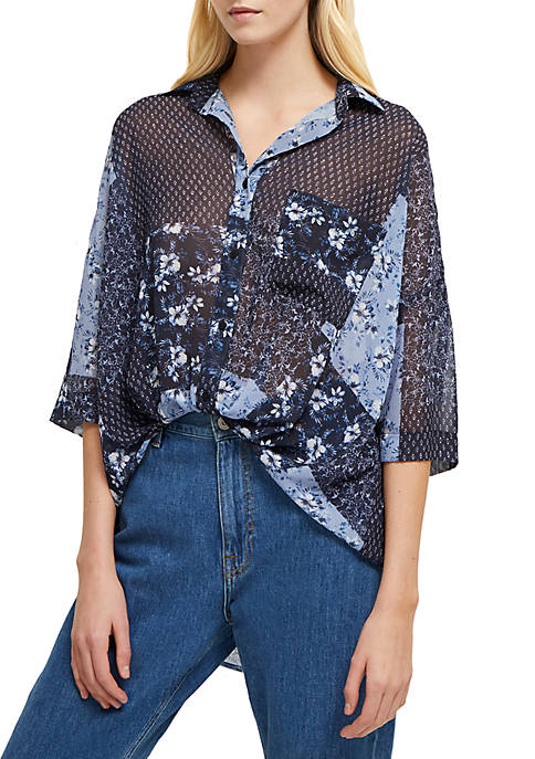 French Connection Patchwork Floral Georgette 3/4 Sleeve Top