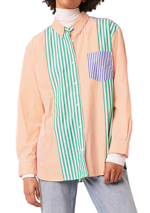 French Connection Adisa Color Block Button Down Shirt