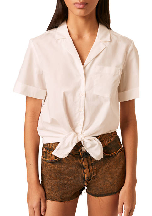 French Connection Short Sleeve Tie Front Top