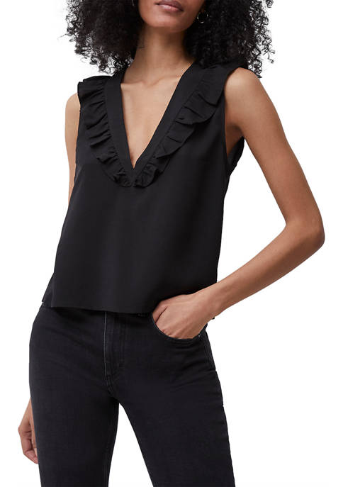 French Connection Crepe Light V-Neck Ruffle Top