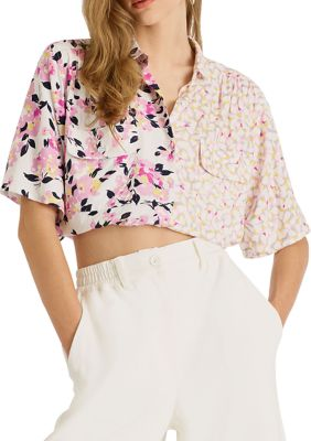 French Connection Womens Yulia Printed Cropped Shirt