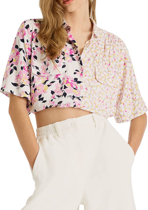 French Connection Yulia Printed Cropped Shirt