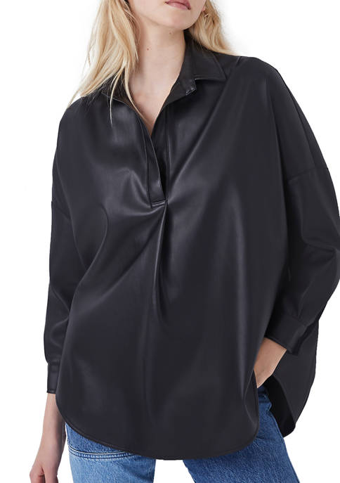 French Connection Womens Rhodes Black Popover Shirt