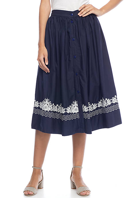 French Connection Rhodea Poplin Embroidered Skirt