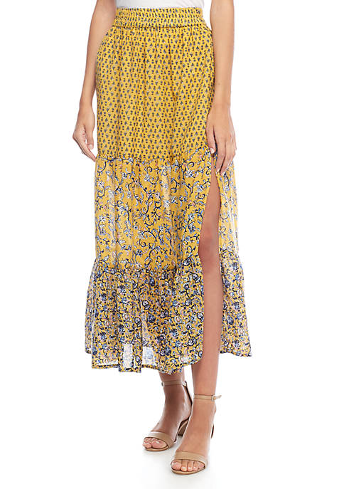 French Connection Savana Sheer Printed Skirt