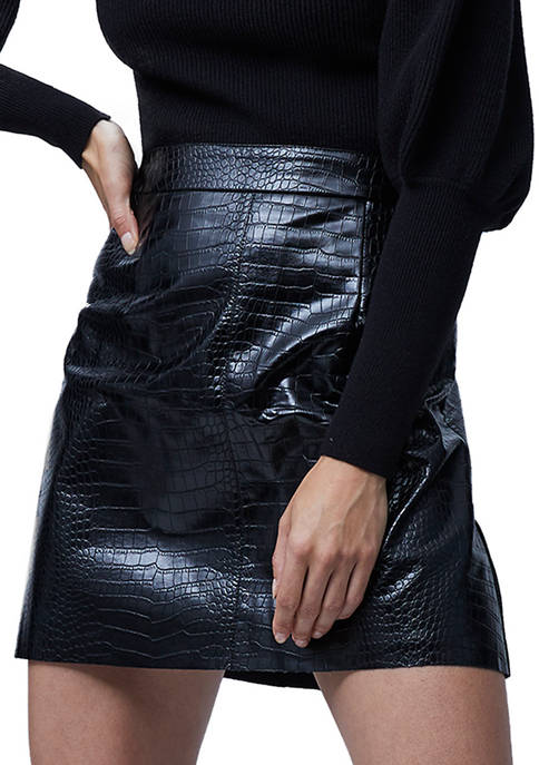 French Connection Polyurethane Crocodile Skirt