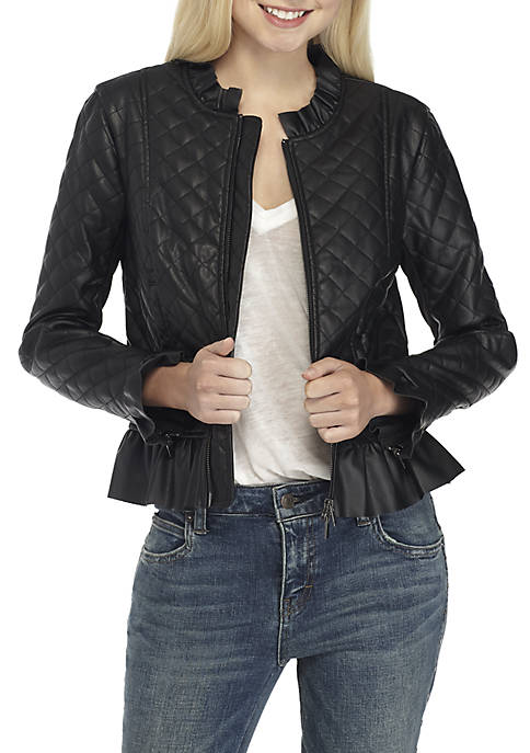 French Connection Brishen Quilted Ruffle Jacket