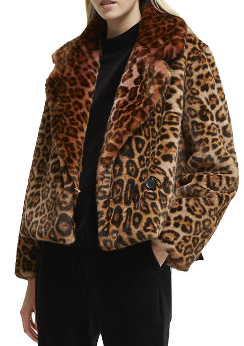 French Connection Analia Faux Fur Leopard Jacket