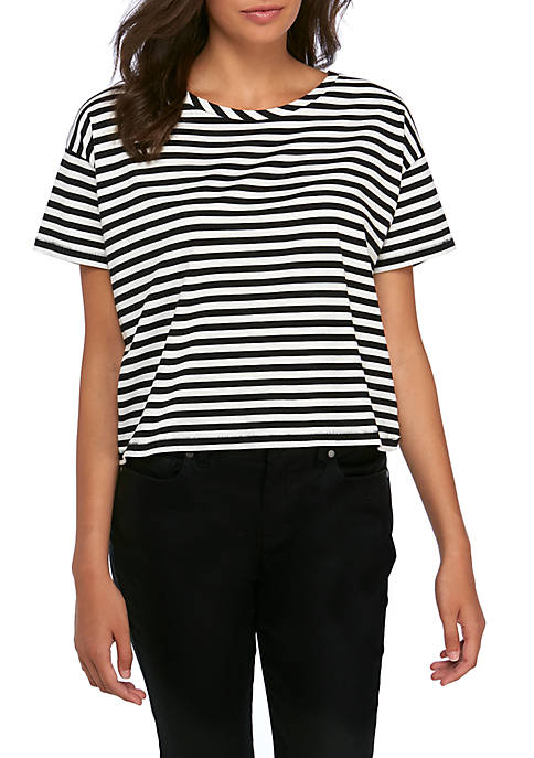 French Connection Tim Tim Crop Stripe Pocket Tee