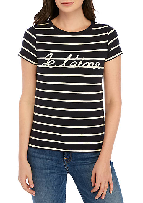 French Connection Short Sleeve Je Taime Stripe Tee