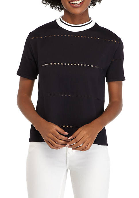 French Connection Rayna Ladder Jersey Knit Top