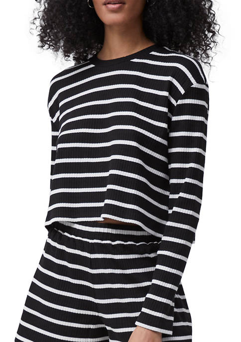 French Connection Tommy Rib Long Sleeve Stripe Crop