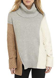 Viola Color Block Block Turtleneck Sweater