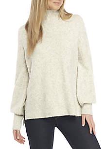 Flossy Rib Mock Neck Sweater