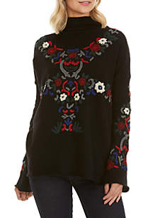Emily Embroidered Mock Neck Sweater