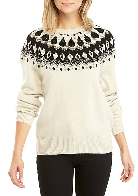 French Connection Vera Fair Isle Embellished Sweater