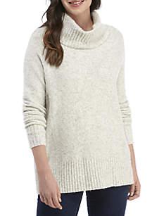Rib Cowl Neck Flossy Sweater