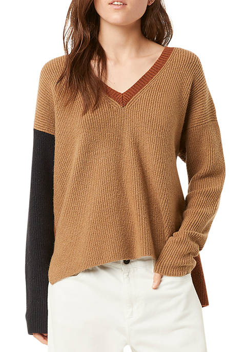 French Connection River VHari Color Block V-Neck Sweater