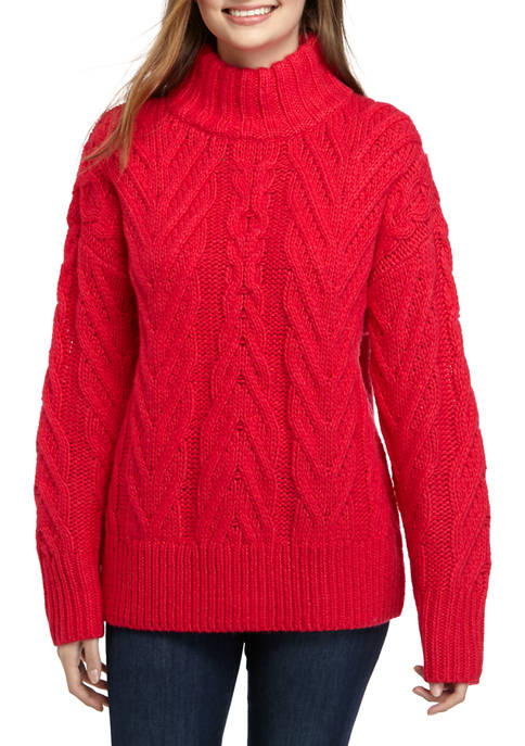 French Connection Long Sleeve Nissa Chunky Cable Sweater