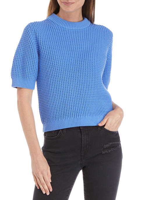 French Connection Short Sleeve Luna Mozart Waffle Knit