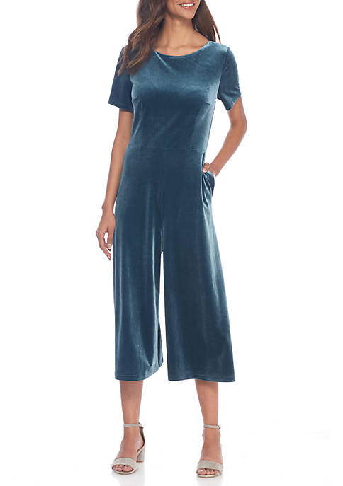 French Connection Aurore Velvet Jersey Jumpsuit