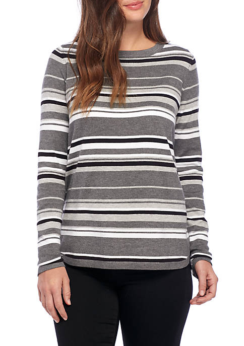 New Directions® Long Sleeve Scoop Neck Stripe Sweater