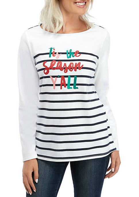 Petite Long Sleeve Graphic Tunic
