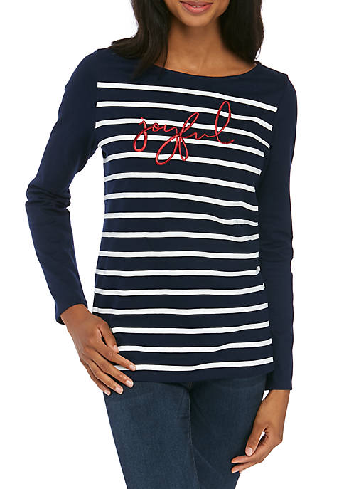 Kim Rogers® Petite Long Sleeve Graphic Tunic