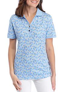 73b64822343aab ... Kim Rogers® Petite Short Sleeve Willow Print Polo