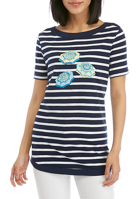 Kim Rogers® Petite Short Sleeve Stripe T Shirt