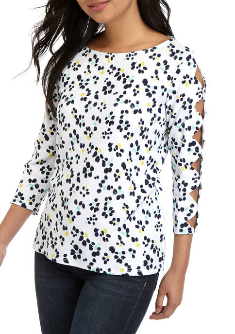 Petite Scallop Sleeve Printed Top