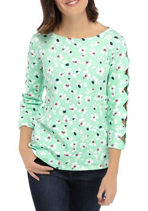 Kim Rogers® Petite Scallop Sleeve Printed Top