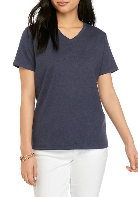 Petite V-Neck Solid T-Shirt