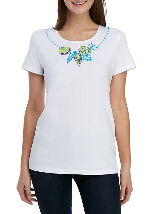 Kim Rogers® Petite Short Sleeve Shell Placement Top