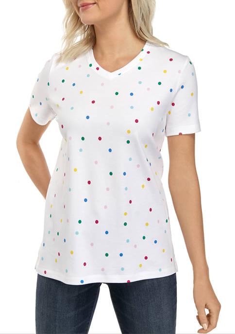 Kim Rogers® Petite Short Sleeve V Neck Printed