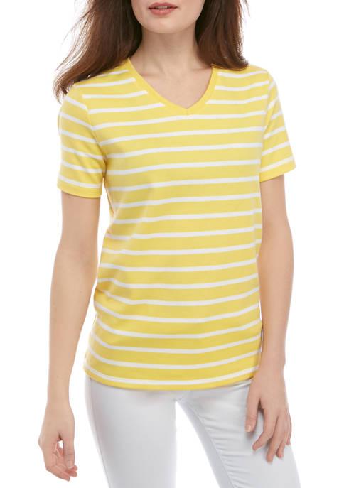 Petite Short Sleeve V Neck Yarn Dye T-Shirt