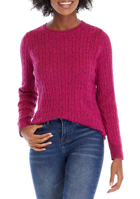 Cable Knit Marled Crew Neck Sweater