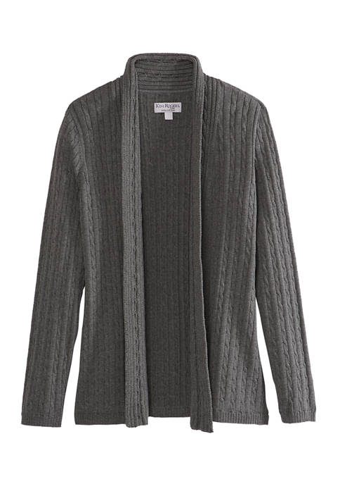 Kim Rogers® Petite Marl Knit Cable Cardigan