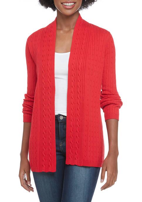 Kim Rogers® Petite Marl Knit Cable Cardigan
