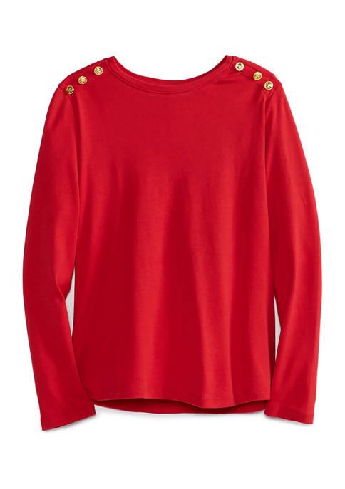 Kim Rogers® Petite Long Sleeve Button Trim Top