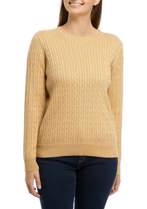 Kim Rogers® Petite Lurex® Cable Knit Crew Neck