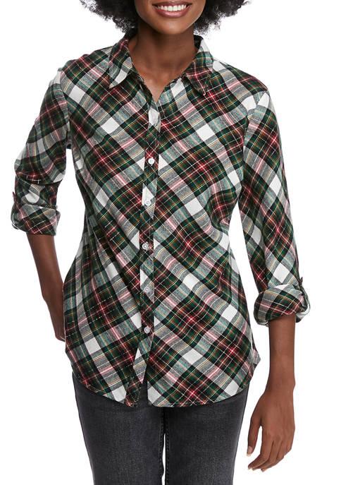 Kim Rogers® Petite Roll Tab Sleeve Flannel Top