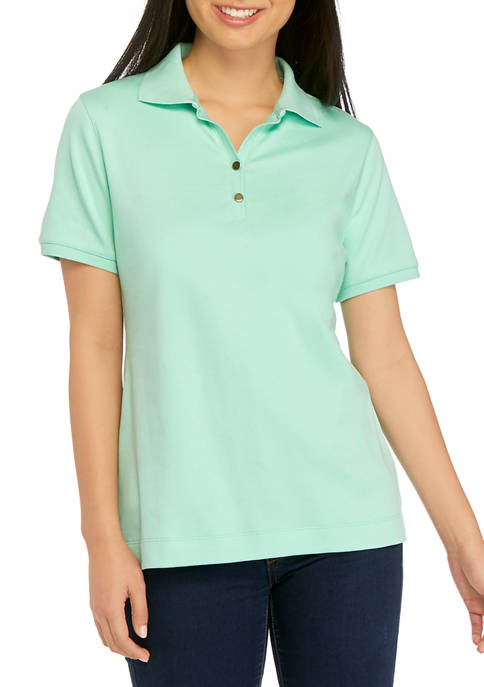 Kim Rogers® Petite Short Sleeve Solid Polo Shirt
