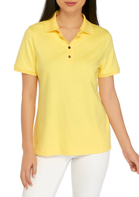 Petite Short Sleeve Solid Polo Shirt
