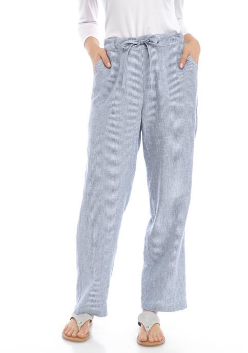 Kim Rogers® Petite Yarn Dye Linen Pants